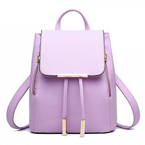 Wewod Mochila Escolar Niña de Moda Mochila de PU Cuero Para Mujer Casual Mochila 24 x 30 x 16 cm (L X H x W ) Púrpura