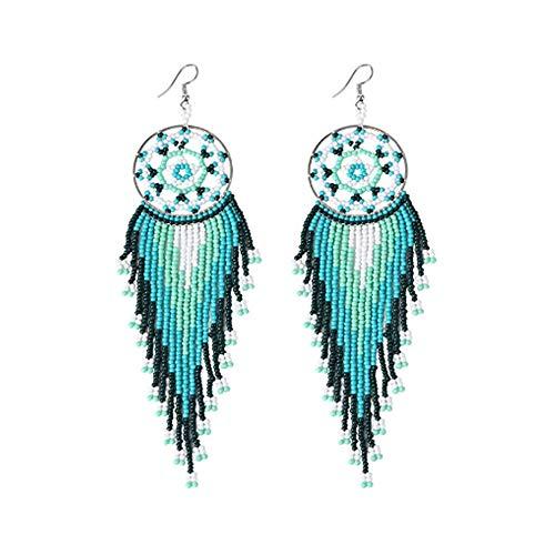 (Bead Earrings Dangle Long Dream Catcher Earring for Women Girls Japan Seed Bead,Fringe Dangle Earring)