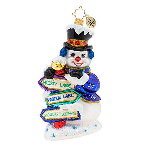 Christopher Radko Which Way, Snowman Christmas Ornament, Multicolor