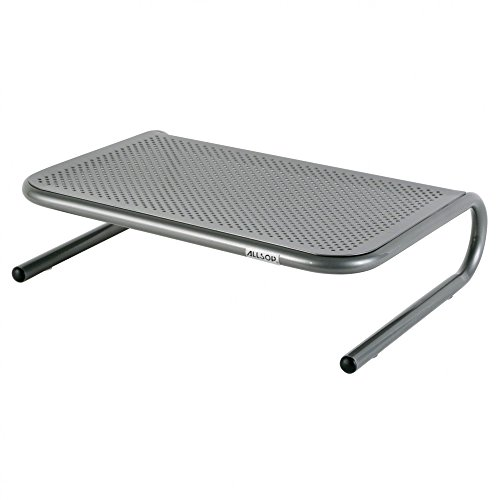 Allsop Metal Art Jr. Monitor Stand, 14-Inch wide platform holds 40 lbs with keyboard storage space - Pewter (27021) Pewter Desk Accessories