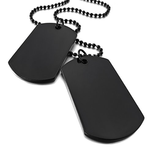 INBLUE Men,Women's 2 PCS Alloy Pendant Necklace Black Double Dog Tag Army Style Tribal 26 Inch Chain