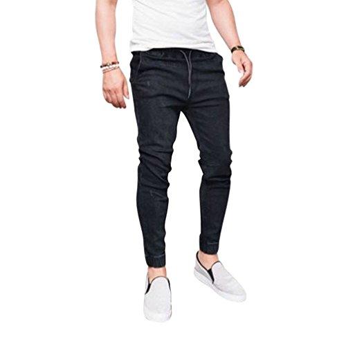 Yying Hombre Vaqueros Largo - Cómodo Cintura Elástica Straight Fit Casual Jeans Rotos Moda Cintura Media Slim Fit Denim Pantalones Negro