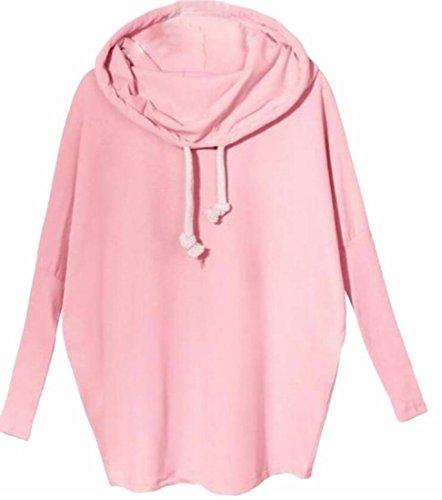 today-UK Women Hooded Cowl Neck Long Sleeve Pullover Sweatshirt Pink