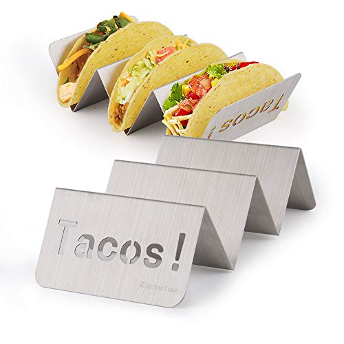 KitchenTour Taco Holder Stand 2 Pack - Stylish 'Tacos!' Hollow Out Design Stainless Steel Taco Rack Holds Perfect for HARD or SOFT Tacos Shell - Keep Tacos Upright without Any Mess by KitchenTour (Image #6)