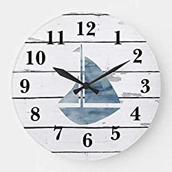 Moonluna Sail Boat Nautical Blue Anchor Shiplap Rustic Decor Large Wall Clock for Kitchen Bedroom Living Room Home Office Decor 16 Inches