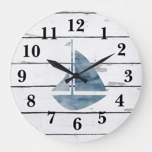 Sail Boat Nautical Blue Anchor Shiplap Rustic Decor Wood Clock Battery Operated Clock Wall Art Decorations 12 Inches