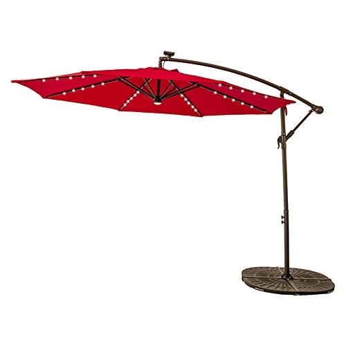 Cantilever Patio Umbrella (FLAME&SHADE 10 feet Solar LED Lights Outdoor Offset Cantilever Umbrella, LED Lights Hanging Patio Parasol Crank Lift, Large Round, Red)