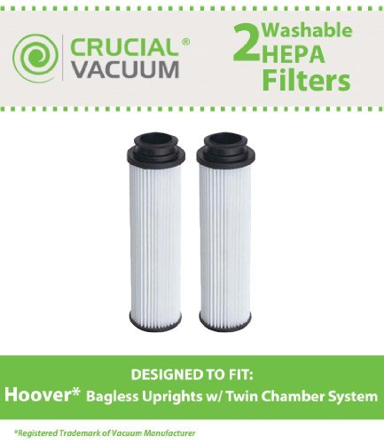 2 Hoover Windtunnel Upright HEPA Filters; Long-Life WASHABLE, REUSABLE and HEPA Filtration, Compare With Hoover Part # 40140201, 43611-042