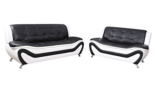 Beverly Fine Furniture F4501-2pc 2 Piece Aldo Modern Sofa Set, Black And White