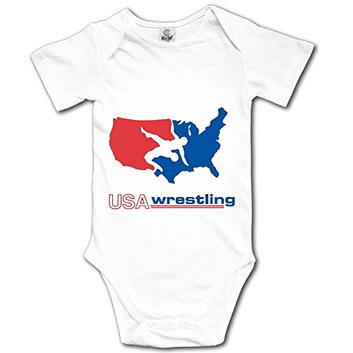 WWTBBJ-B USA Wrestling Printed Newborn Toddler Baby Short Sleeve Romper Jumpsuit by WWTBBJ-B