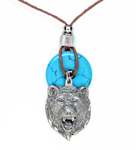 Head Pendant Bear (Earth Reflections Diamond Cut Pendant Necklace - Bear Head)