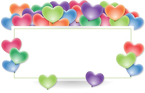 LAMINATED 37x24 inches Poster: Frame Border Holder Balloons Anniversary Heart Shape Celebration Occasion Happy Celebrate Event Facebook Twitter Post Adult Birthday Boy Girl Man - Shapes Facebook Heart