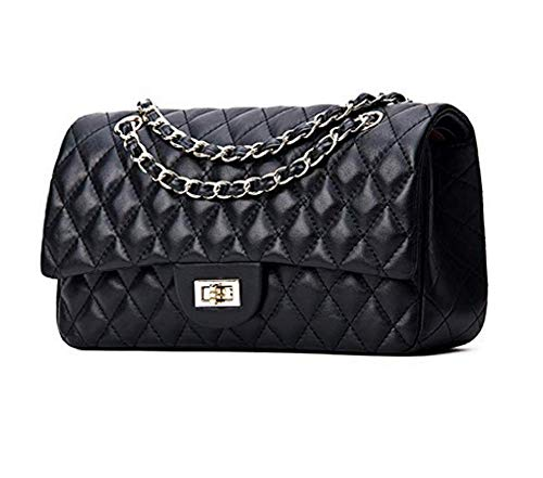 Women's Designer Handbag Lambskin Classic Quilted Grained Double Flap Gold Tone Metal Chain Crossbody Shoulder Bag Black 30cm/12