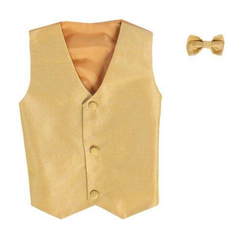 Vest and Clip On Boy Bowtie set - - White And Gold Dress Kids