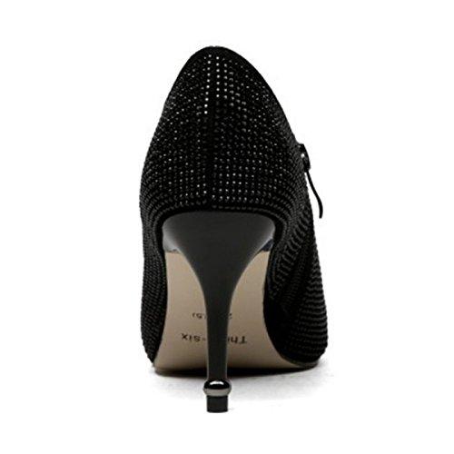 negro Boda Zapatos Bombas De De Tacones Primavera Sexy De Mujer Con Negro Zapatos Diamantes Nuevos Altos Imitación UwqUaCxZB