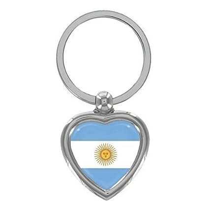1StopShops Argentina Bandera Metal Forma Corazón Llavero en ...