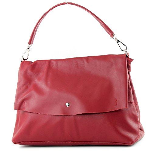 Sac main cuir sac sac cuir femme nappa italien Italy in Made bandoulière sac à Dunkelrot IT40 de sac modamoda à xZqzFII