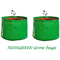 YUVAGREEN Green with Orange 200 GSM UV Treated Grow Bags for Terrace Gardening