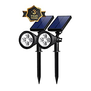 Solar Spot Lights Outdoor, Waterproof 2-in-1 Outside Solar Powered Spotlight Led Lighting Auto On/Off for Pathway, Walkway, Patio, Yard, Garden and Landscape 2-Pack