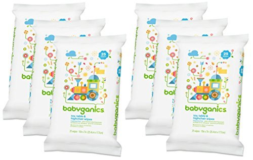 Babyganics Toy, Table & Highchair Wipes, 25 Count, 6 Pack by Babyganics