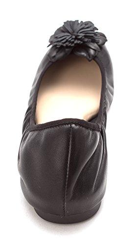 Jessica Simpson Mujeres Marelda Leather Ballet Con Puntera Cerrada Flats Black Sleek