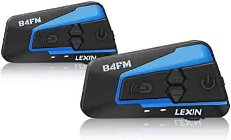 LEXIN 2pcs LX-B4FM Motorcycle Bluetooth Intercom with FM Radio, Motorcycle Helmet Bluetooth Headset Communication With Noise Cancellation Up to 4 Riders, Off-road Motorcycle Wireless Helmet Audio