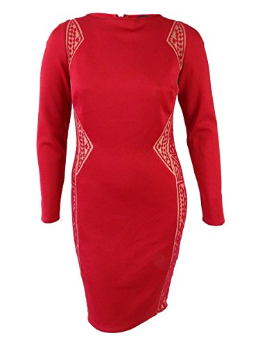 Tadashi Shoji Women's Long Sleeve Tribal Motif Dress (XL, Red/Nude)
