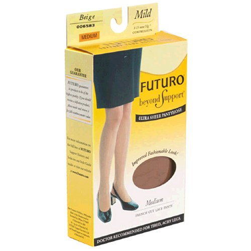 Futuro Beyond Support, Medium, Nude, Mild, Ultra Sheer, French Cut Lace Panty, 1 Pair