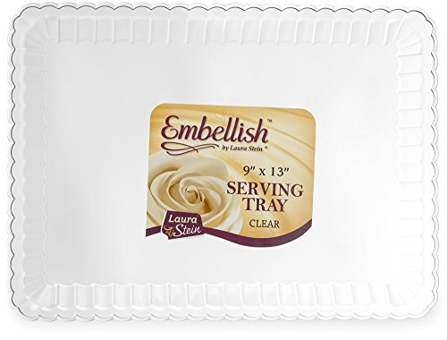 Embellish Rectangle Plastic Clear Serving Trays, Clear, 9 x 13 Pack of 4