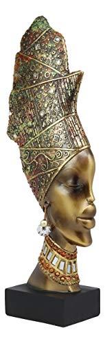 Ebros Large African Tribal Art 3D Maasai Ebony Female with Yoruba ASO Oke Hat Head Bust Statue 15.25