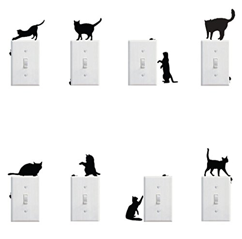 Removable Switch Sticker, 8 Pcs Cute Black Cat and Mouse Cartoon Wall Sticker, Light Switch Decor Decals, Family DIY Decor Art Stickers Home Decor Wall Art For Kids Bedroom Office Home Decoration ()