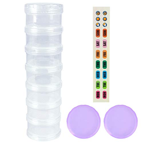 - 7 Day Pill Organizer Case Stackable Weekly Supplements Vitamins Pills Holder Dispenser Extra Large Clear Transparent with Label and 2 More Lids