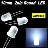 50pcs x 10mm Round Diffused LED Light 2pin 10mm Diffused LED 9k MCD White
