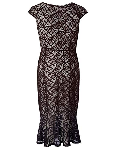 Chicwe Women's Dress Ruffle Hem Black Plus Casual with Dress Lace Size Stretch 44rHdq