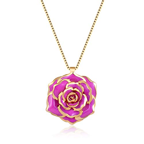(FM FM42 Purple Gold-Tone 30mm Made of Real Rose Flower Pendant Necklace FN4209)