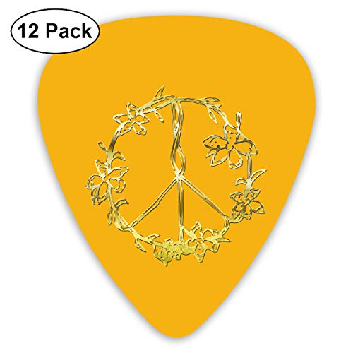 Unique Designs Guitar Picks - Flowers Peace Sign Yin Yang Flower Tattoos And Hippie Guitar Picks -Premium Music Gifts & Guitar Accessories For Boyfriend Musician-12 Pack