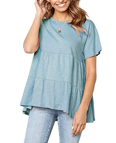 QEESMEI Short Sleeve Casual Loose Blouse Swing Shirts High Low Top Summer Solid T-Shirt for Women Teenager Pea Green