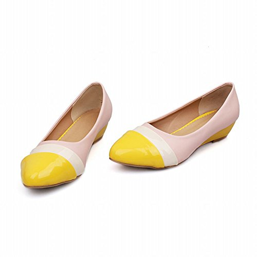 Carol Shoes Women's Sweet Candy Colors Low Heel Wedge Court Shoes Yellow+Pink SSB5Yf