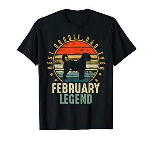 Mens Best Doodle dad ever February Legend Retro T-shirt