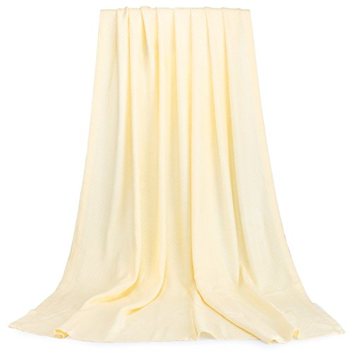 Baby Blanket 100% Bamboo Fiber Blanket Pure Natural.Use as a Warm, Comfortable Bed Blanket Year Round. 43''X 45'' (Gold) (Best Natural Fiber Blanket)