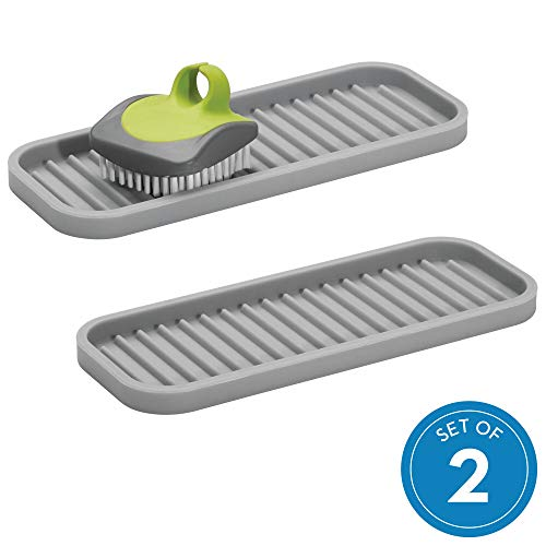 iDesign Lineo Kitchen Sink Tray for Sponges, Scrubbers, and Soap - Set of 2,