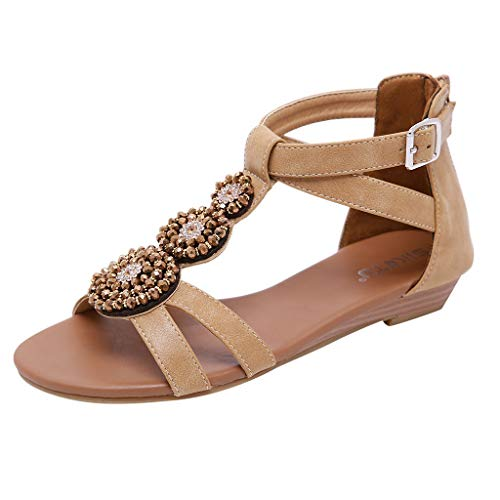 Aunimeifly Women Bohemia Sandals Beach Flower Beaded Low Wedge Ankle Buckle Zip Flat Shoes Open Toes Comfort Shoes Brown