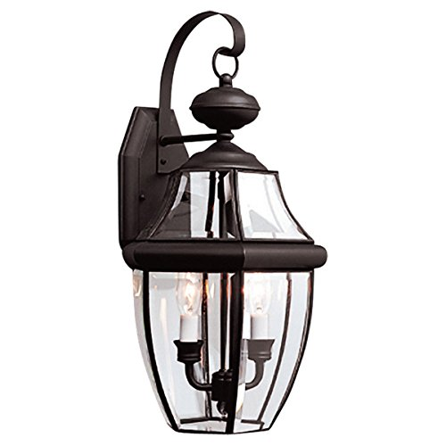 Sea Gull Lighting 8039-12 2-Light Lancaster Medium Outdoor Wall Lantern, Clear Beveled Glass and Black