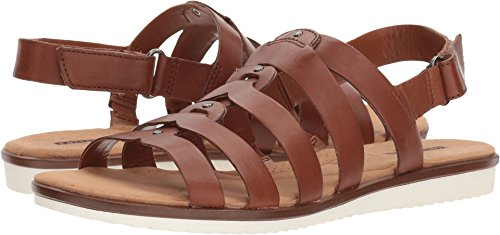 CLARKS Women's Kele Jasmine Sandal, tan Leather, 5.5 Medium US