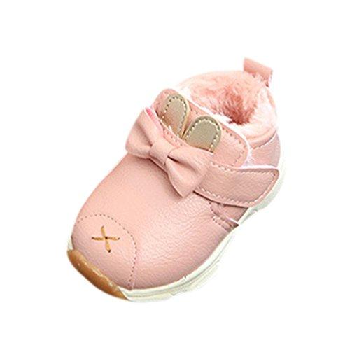 Hunpta Baby Warm Infant Jungen Mädchen Martin Cartoon Leder Sneaker Kinder Freizeitschuhe Rosa