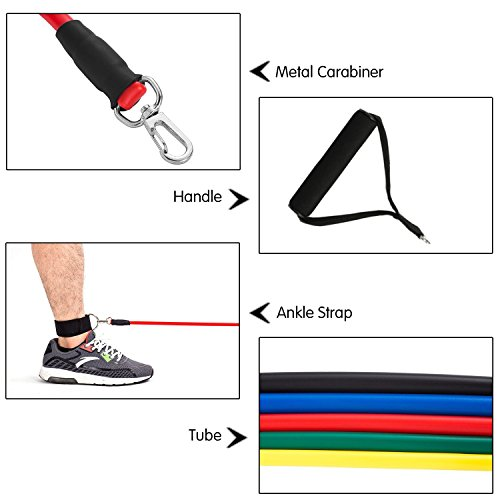 CUXUS 11 pcs Resistance Band Set, with 5 Exercise Bands, Door Anchor, Foam Handles, Ankle Straps and Waterproof Carrying Case, for Resistance Training, Home Gyms Workouts Fitness Yoga