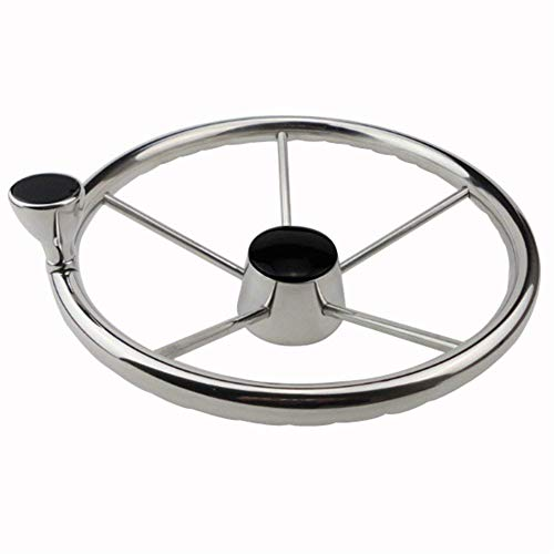 13-1/2 Inch Stainless Steel Steering Wheel with Knob Control Knob Wheel For Boats & Yacht (13.5 steel wheel with knob)