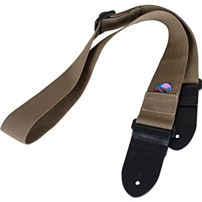 Protec Guitar Strap featuring Thick Leather Ends and Pick Pocket, Black