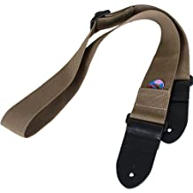 Protec Guitar Strap featuring Thick Leather Ends and Pick Pocket, Tan