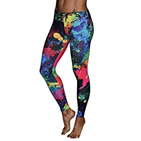 Printed Yoga Leggingspocciol Mid Waist Trousers Women Colorful Fitness Stretch Pants L Red